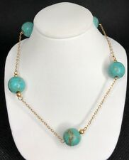 """14K GOLD CREATED TURQUOISE STATION NECKLACE 18"""""""
