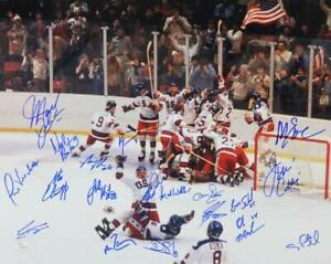 1980 Miracle On Ice Team USA Autographed 16x20 Photo w/19 Signatures- JSA W Auth