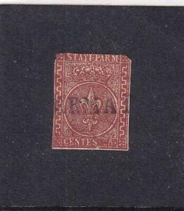 ITALIA ITALIAN STATES PARMA 1853 25c BRUNO ROSSO USATO