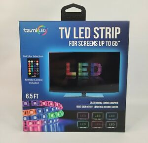 """Tzumi USB LED Light Strip 6.5', Remote Control, 16 Colors, Fit Up To 65"""" TV, NEW"""