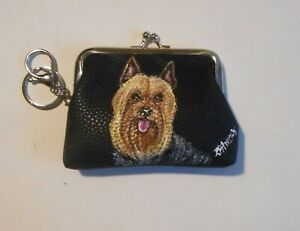 Silky Toy Terrier dog Hand Painted Leather Coin Purse with Key chain