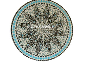"""24"""" Marble Coffee Table Top Turquoise Inlay Mosaic Cubes Home Decors Gift H945A"""