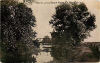 Clinton Michigan~Raisin River Bridge~1908 B&W Postcard