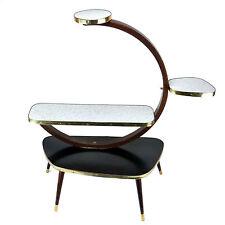 50s Vintage Plant Stand Display Table Shelf Black White Gold Mid-Century Modern