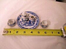 7-pc Miniature Blue Willow Porcelain Tea Set-Toy, Doll etc
