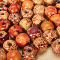 100 PCS Mixed Large Hole Ethnic Pattern Stringing Wood Beads DIY Jewelry 9mm