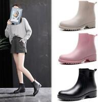 Womens Ladies Chelsea Slip On Ankle Rain Boots Waterproof Outdoors No-Slip Shoes
