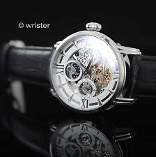 Invicta Objet D Art Automatic Skeleton Black Calf Leather Day Night Men's Watch