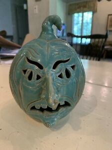 Sandy Cole NC Potter Witch Halloween Face Jug Pottery Signed