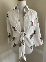 Mishca Tie Front Shirt Size Small Floral White Blouse Embroidered Cottagecore