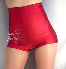 MADAME FANTASY HIGH WAISTED SPANDEX SHINY SHORTS HOT PANTS RED XS S M L XL XXL