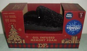 Dearfoams Gel Infused Memory Foam Slippers Ladies S 5-6 WIDE Black New NIB