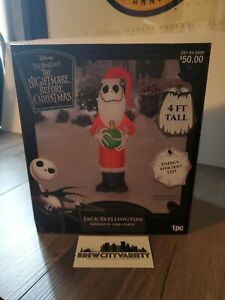 "Disney LED Jack Skellington in Santa Suit 48"" (4ft) Christmas Inflatable NEW"