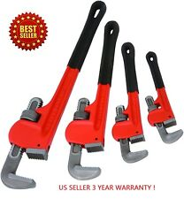 "Heavy Duty Pipe Wrench  4pc Adjustable Set 8"" 10"" 14"" 18""  Monkey Soft Grip"