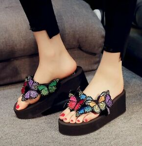 Womens Butterfly Flip Flops High Wedge Platform Heels Slides Slip On Slippers