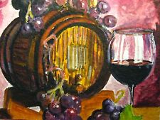 Painting Red Wine Barrel Glass Alcohol Drink Grapes Farm ACEO Art