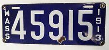 MASSACHUSETTS  ORIGINAL PORCELAIN 1913  LICENSE PLATE #45915