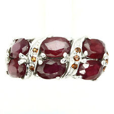 REAL Oval CUT 6x4 MM Blood Red Ruby & Mozambique Garnet 925 Sterling Silver Ring