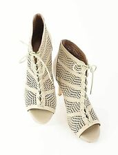 Joie Sz 38 Tan Perforated Leather Laced Open Toe High Heeled Ankle Boot E120