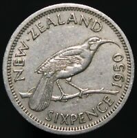 1950 | New Zealand George VI Sixpence 'Key Date' | Cupro-Nickel | KM Coins