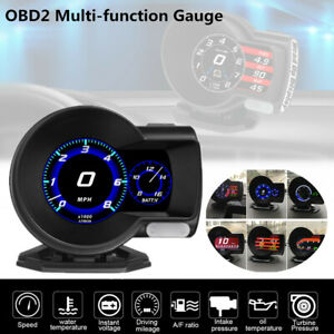 Car OBD2 Multi-function Gauge Head-Up Digital Display Speed RPM Turbine Pressure