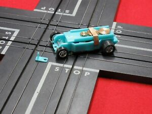 T-Dash T-jet Turquoise/Teal Colored Chassis 5 spoke Chrome wheels guide pin