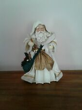 Santa Tree Topper White Robe Fabric Mache Midwest Importers with box