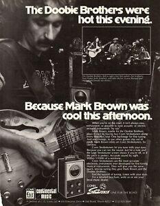 vtg DOOBIE BROTHERS ROADIE MARK BROWN AD PINUP PAGE Guitar Tech Conn Strobotuner