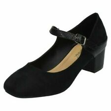 Ladies Anne Michelle Wide Fitting Mid Chunky Heel Mary Jane Shoes