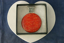 """Beautiful Silver Pendant With Red Coral 34.2 Gr.8x6 Cm. Wide 18"""" Imitation Cord"""