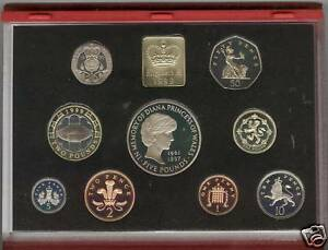 1999 DELUXE RED PROOF SET OF 9 COINS WITH CERTIFICATE
