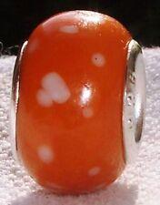 Orange White Dots Speckled Murano Glass Bead for Silver European Charm Bracelets