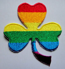 GAY PRIDE RAINBOW COLOR SHAMROCK Embroidered Iron on Patch Free Shipping