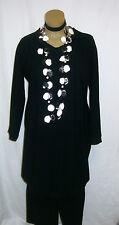 OPHILIA: exclusive LUXUS Lagenlook Long-Tunika/Kleid schwarz Langarm 48 50 52