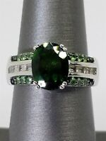 Women's Sterling Silver 925 Ring with Green & White Stones Free Shipping! #81136