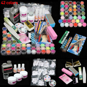 Full Acrylic Nail Art Tool Starter Kit-Set DIY Powder Nail Tips Brush File Form