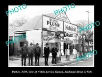 OLD LARGE HISTORIC PHOTO OF PARKES NSW, WEBBS SERVICE STATION, MOBIL OIL 1930s 2