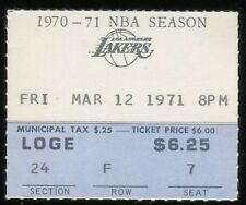 Basketball Ticket L.A. Lakers 1971 Buffalo Braves 3/12 Jerry West HOF