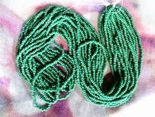 Vtg 1 HANK GRASS GREEN OPAQUE COLORED GLASS SEED BEADS 11/0  #060512r