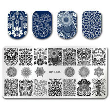 Rectangle Nail Art Rose Lotus Flower Stamping Template Image Plate BORN PRETTY
