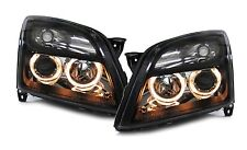 Clear black projector headlights with angel eyes for Opel Vectra C Signum