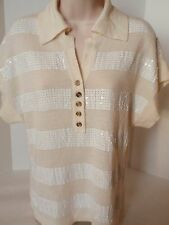 Ladies Baby Phat Ivory Colored Short Sleeved Sweater White Sequins Wool Acrylic