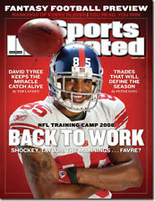 DAVID TYREE NEW YORK GIANTS SPORTS ILLUSTRATED NO LABEL AUGUST 4 2008