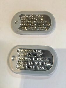MILITARY CUSTOM ID DOG TAGS WITH CHAIN & SILENCERS OFFICIAL GI ARMY USMC SPEC
