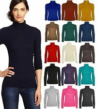 Womens Roll Polo Neck Stretch Plain Top Ladies Long Sleeve Top Jumper