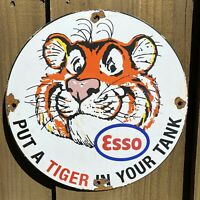 VINTAGE ESSO FUEL PORCELAIN SIGN TIGER IN YOUR TANK USA OIL GAS PUMP PETROLIANA