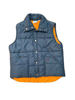 1970's Vintage Made In USA Wrangler Outerwear Size L Puffer Vest Navy Orange