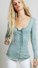 $88 FREE PEOPLE We The Free Lace Up Long Sleeve Blue Slub HENLEY KNIT TOP S