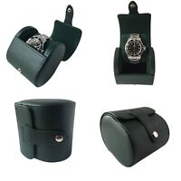 Green PU Leather Single Watch Hard Case Travel Case Watch Box Pouch Roll