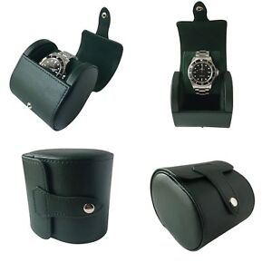 Green PU Leather Single Watch Hard Case Travel Case Watch Box Pouch Roll